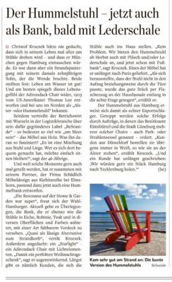 Artikel BeSeaside Stuehle HamburgerAbendblatt 28 29 Juli 2018 Seite 45