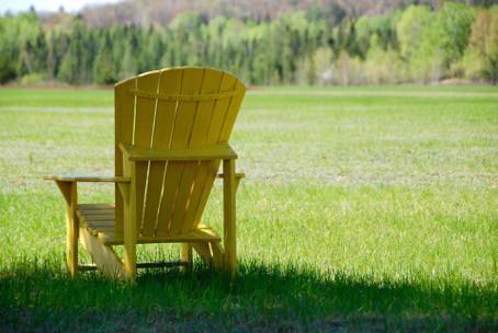 Adirondack Chair auf Wiese in der Sonne