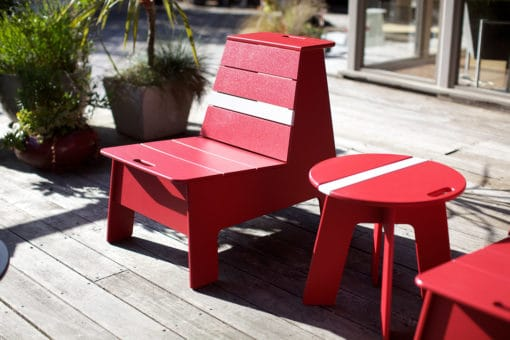 Loll designs pfeiffer racer lounge chair 7 and side table red