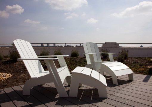 Loll Designs Adirondack Chairs (4slat-flat) in weiß (white), mit Fussbänken